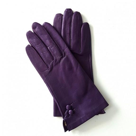 """Gants en cuir d'agneau violet """"CLEMENTINE""""."""