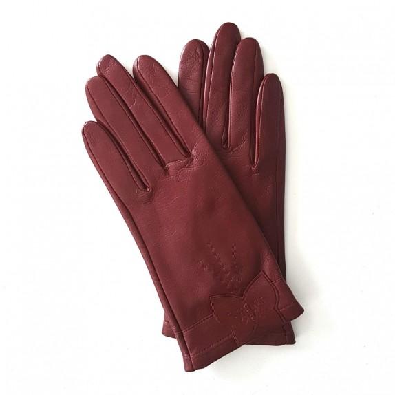 """Leather gloves of lamb maroon """"PAPILLON""""."""