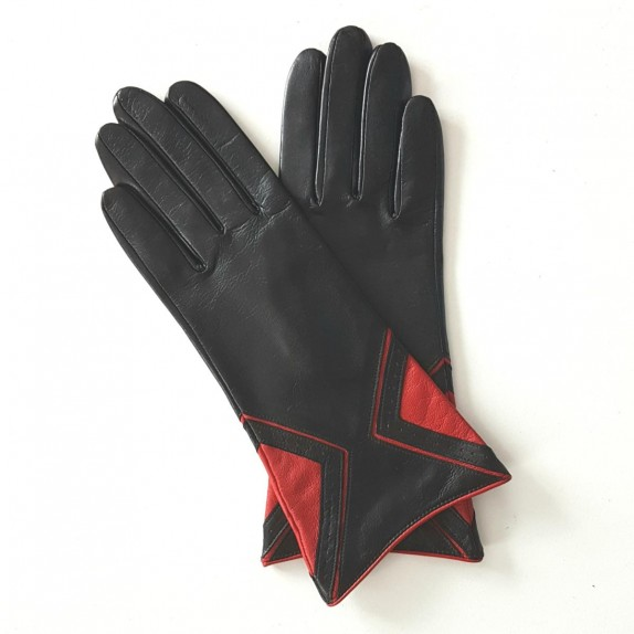 "Leather gloves of lamb black and pj red ""ISOCELE""."