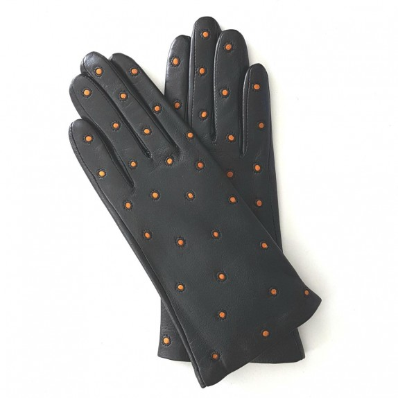 """Leather gloves of lamb black and maize """"COCCINELLE"""""""