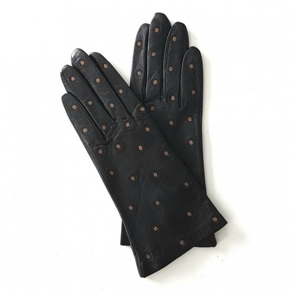 """Leather gloves of lamb black and sand """"COCCINELLE"""""""