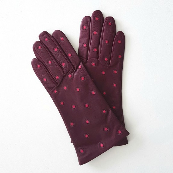 "Leather gloves of lamb blackcurrant and fuchsia ""COCCINELLE"""