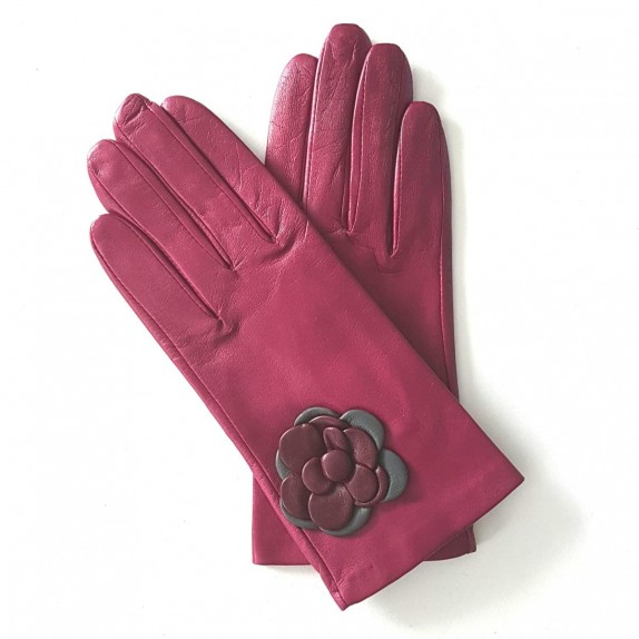 "Leather Gloves of lamb hot pink blackcurrant charcoal ""DHALIA"""