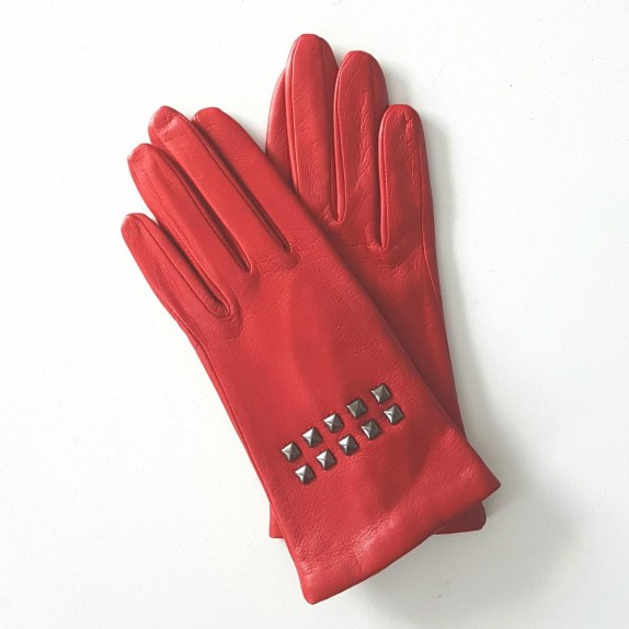 """Leather gloves of lamb pj red """"SMITH""""."""