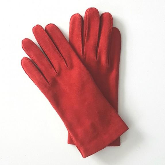 """Leather gloves in goat velvet red """"CAPRA""""."""
