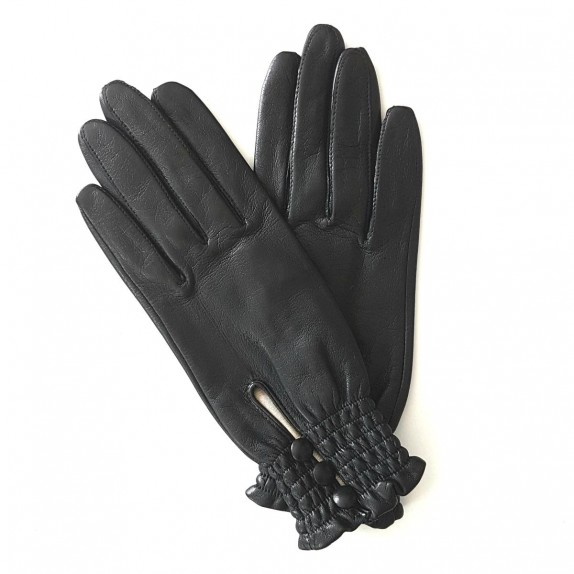 "Leather Gloves of lamb black ""SOLANGE"""