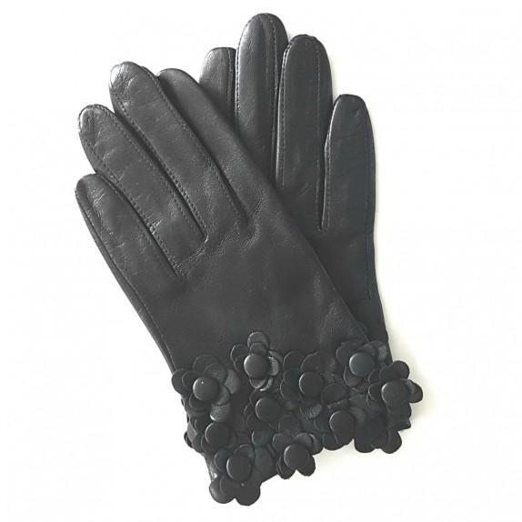 "Leather Gloves of lamb black ""AUBRIETTE"""