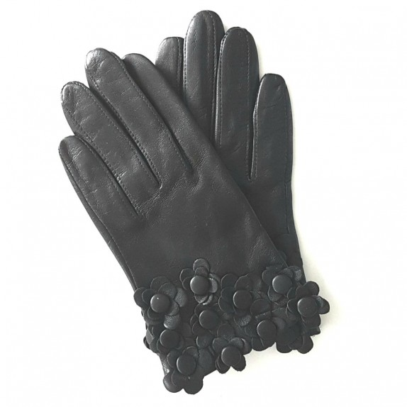 "Leather Gloves of lamb black ""PRIMEVERE"""