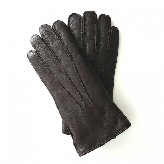 "Leather gloves of deer brown ""SERGE"""