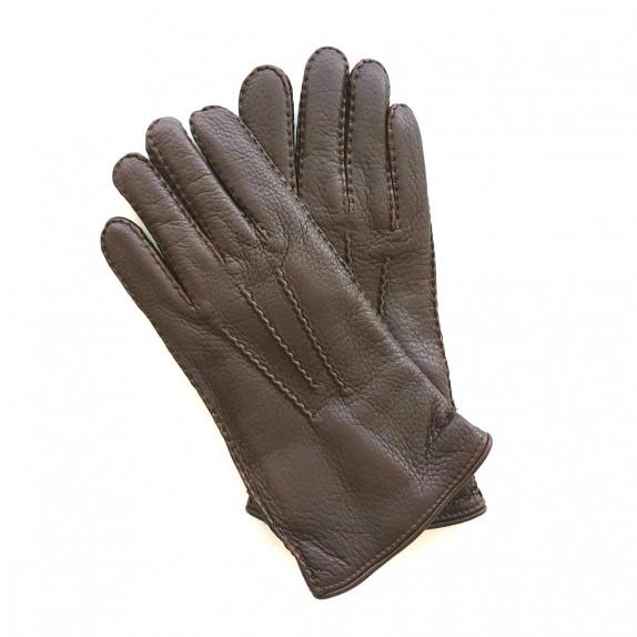 "Leather gloves of deer chocolate ""SERGE"""