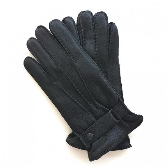 "Leather gloves of deer black ""THADEÏ"""