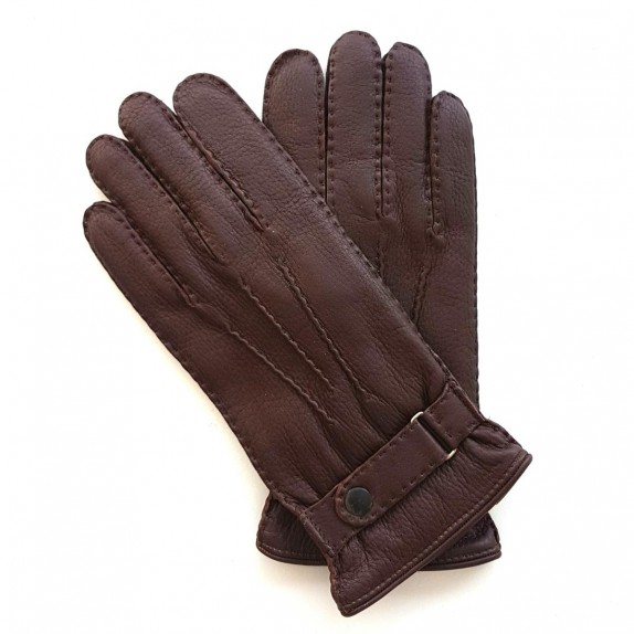 "Leather gloves of deer chocolate ""THADEÏ"""