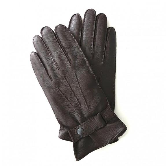 "Leather gloves of deer brown""THADEÏ"""