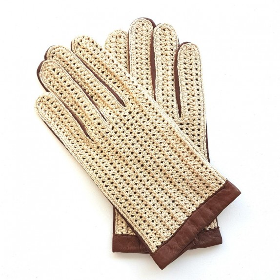 "Leather gloves of lamb and cotton hook cognac and beige ""LOUIS"""