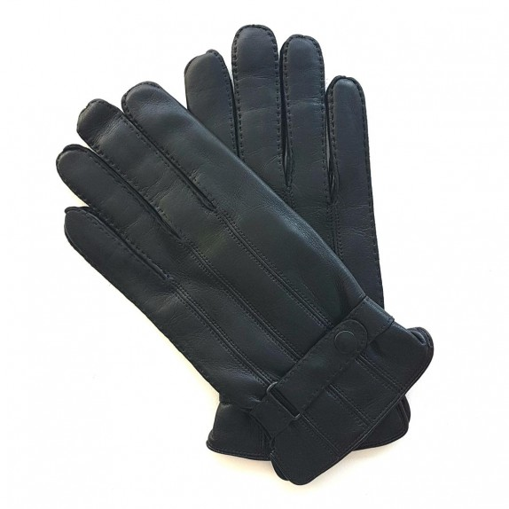 "Leather gloves of lamb black ""BASILE""."