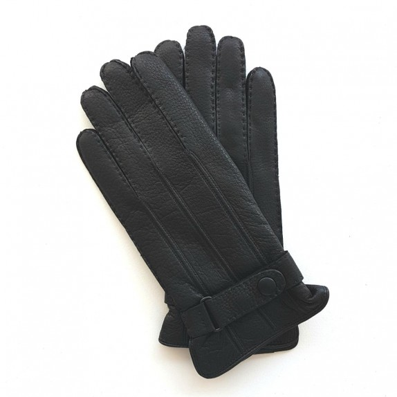 "Leather gloves of deer black ""BLAISE"""