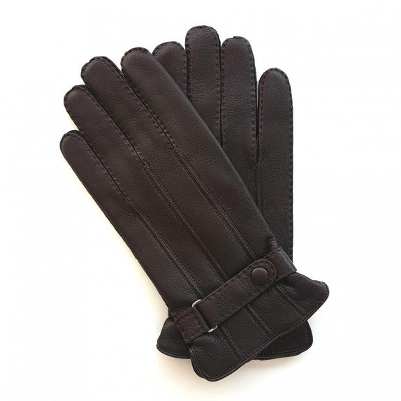 "Leather gloves of deer brown ""BLAISE"""