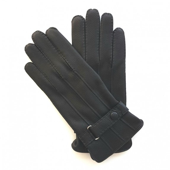 "Leather gloves of deer black ""BLAISE"""