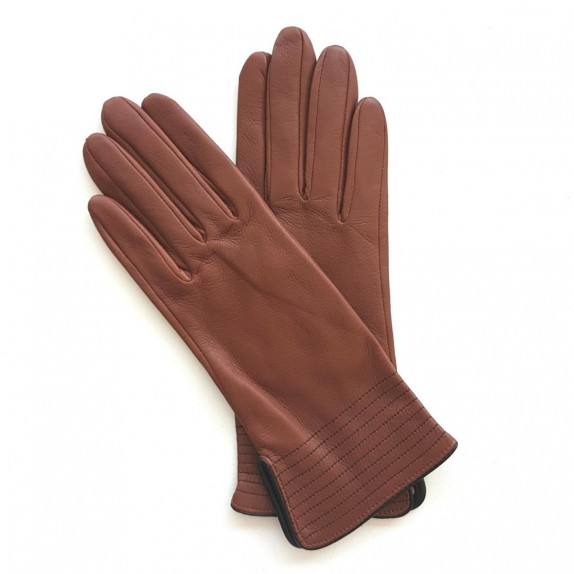 "Leather gloves of lamb cognac and black ""FENELON"""