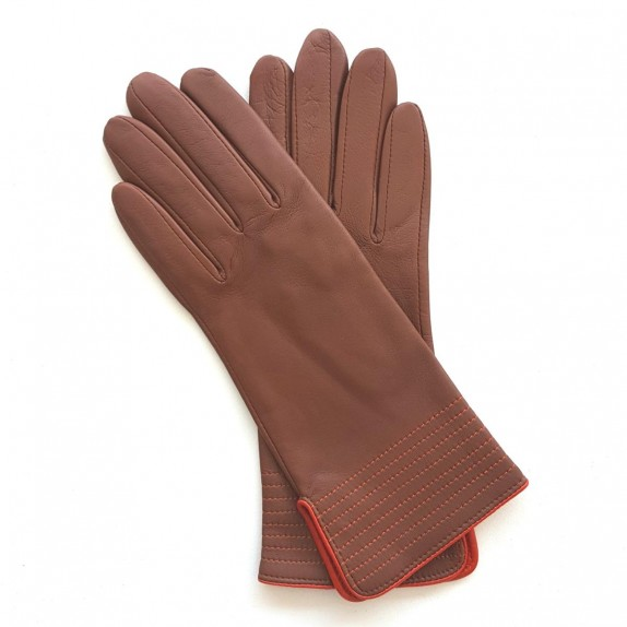 "Leather gloves of lamb cognac and orange ""FENELON"""