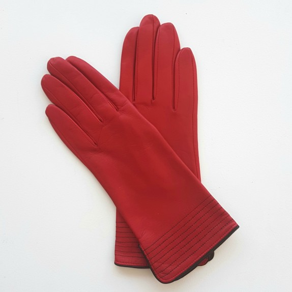 "Leather gloves of lamb Pj red and black ""FENELON"""