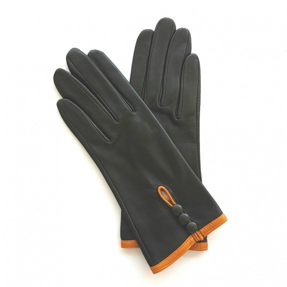 "Leather gloves of lamb evergreen and maize ""MARGUERITTE"""