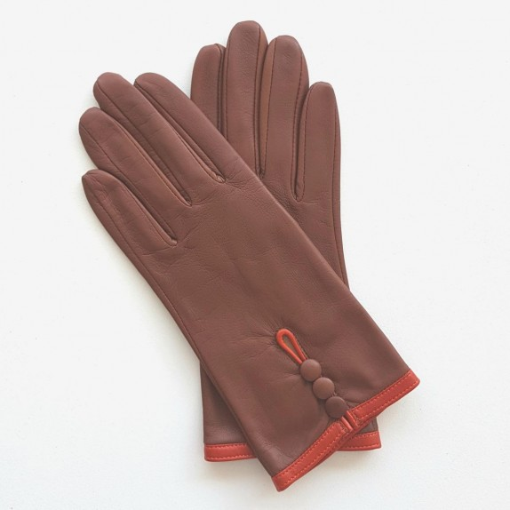 "Leather gloves of lamb cognac and orange ""MARGUERITTE"""