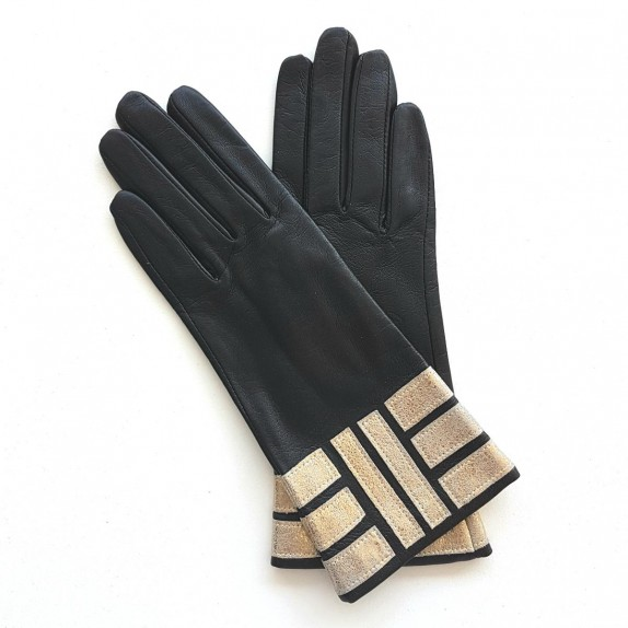 """Leather gloves of lamb black and gold """"SIDONIE"""""""