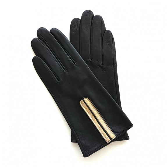 "Leather gloves of lamb black and gold ""JOSEPHINE"""