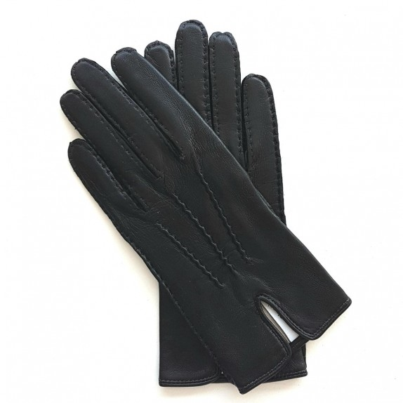 "Leather gloves of lamb black ""GISELE"""