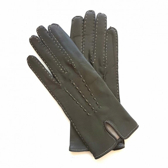 """Leather gloves of grey and ecru """"GISELE"""""""