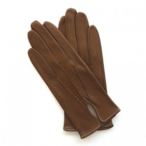 "Leather gloves of lamb gingerbread and white ""GISELE"""