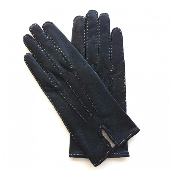 "Leather gloves of navy and ecru ""GISELE"""