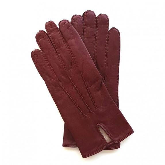 "Leather gloves of maroon ""GISELE"""