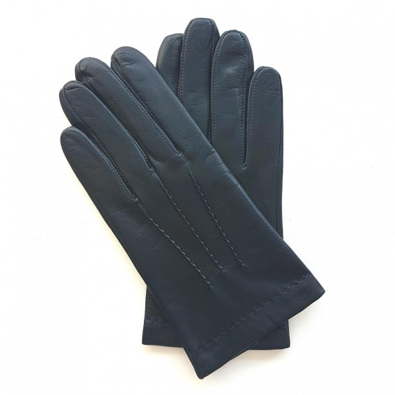 "Leather gloves of lamb navy ""HENRI"""