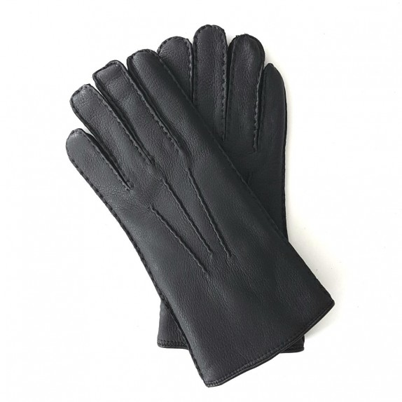 "Leather gloves of deer black ""SERGE"""