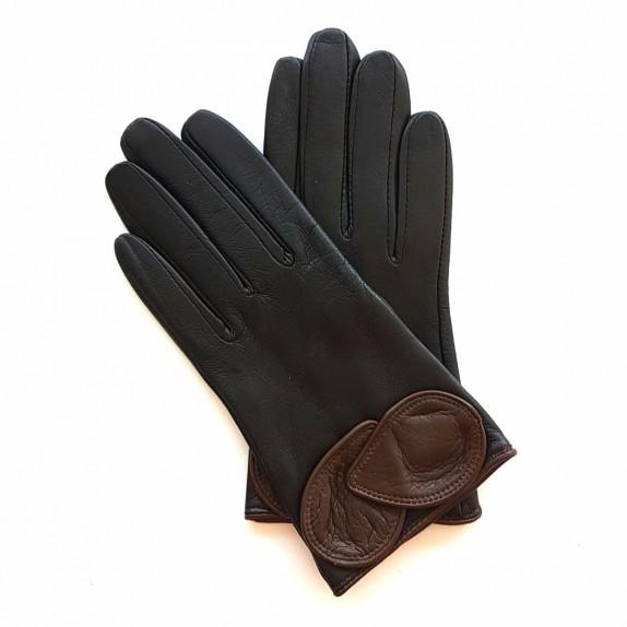 """Gants en cuir d'agneau marron et chocolat """"PEUPLIER""""."""