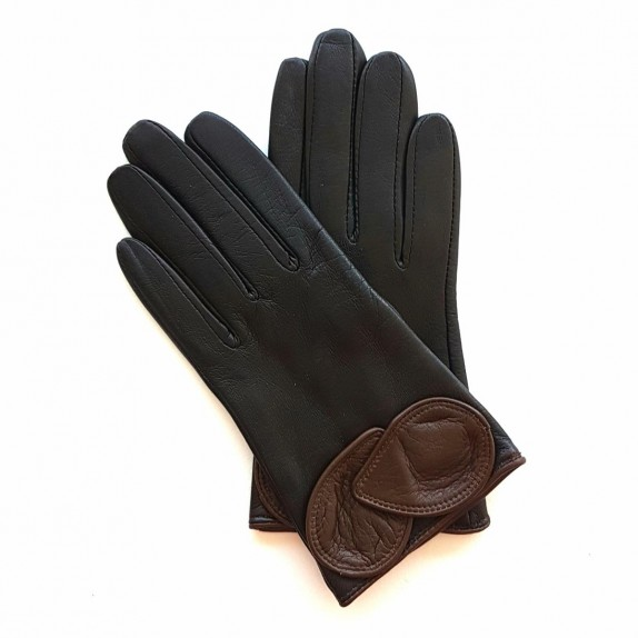 "Leather gloves of lamb Brown and chocolate ""PEUPLIER""."