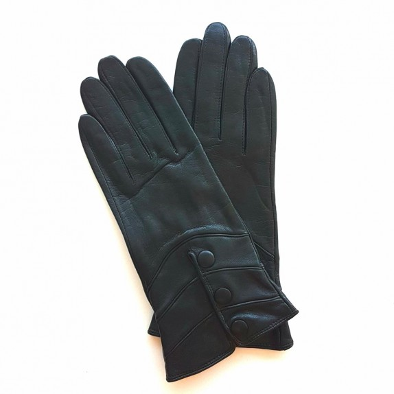 "Leather gloves of lamb black "" HONGRIE ""."
