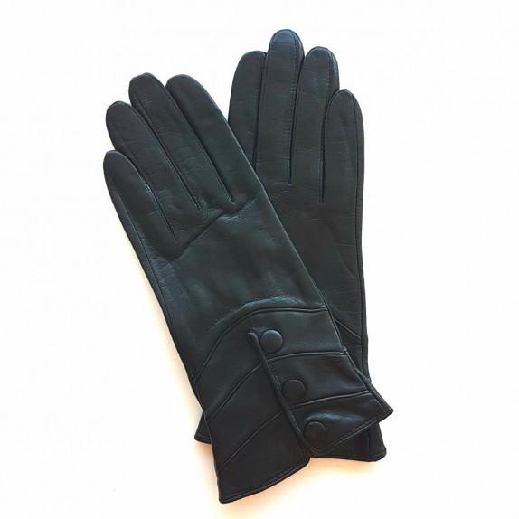 "Leather gloves of lamb black "" HONGRIE ""."