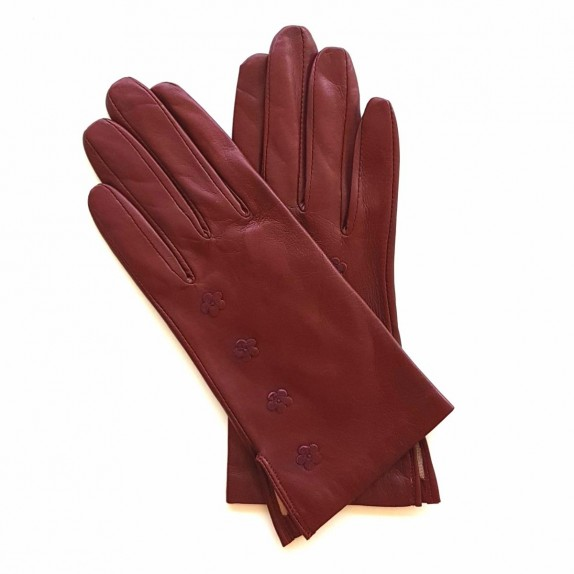 "Leather Gloves of lamb burgundy ""DHALIA"""