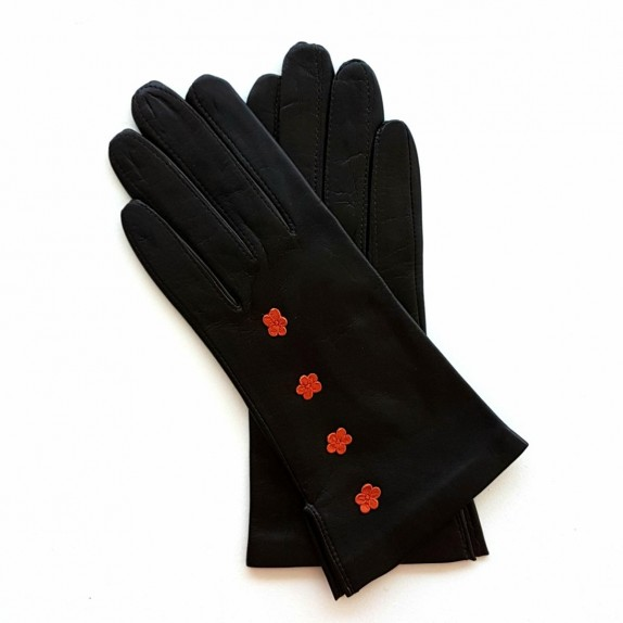 "Leather Gloves of lamb brown and orange ""CAMPANULE""."