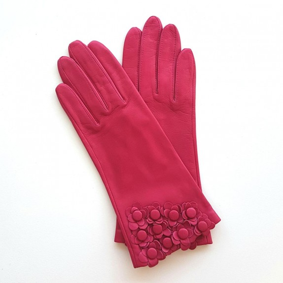 "Leather Gloves of lamb fuschia ""AUBRIETTE""."