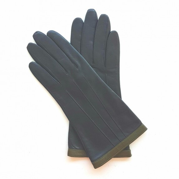 "Leather gloves of lamb black and khaki ""AKILINA"""
