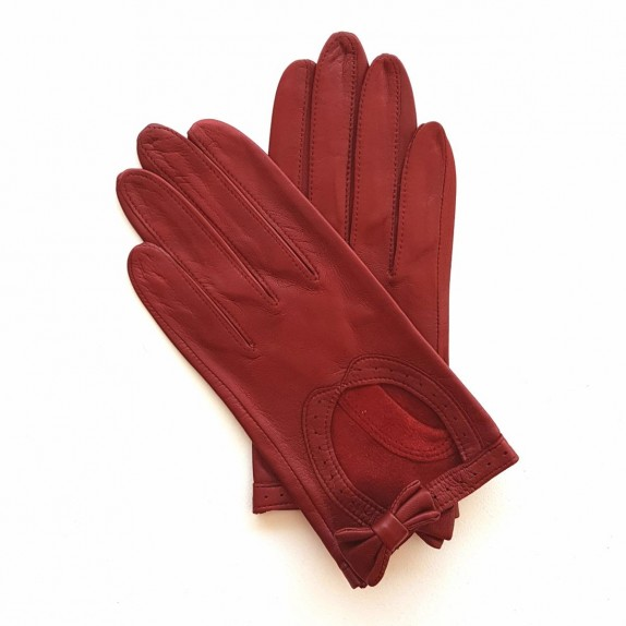 "Leather Gloves of lamb burgundy ""DENISE""."