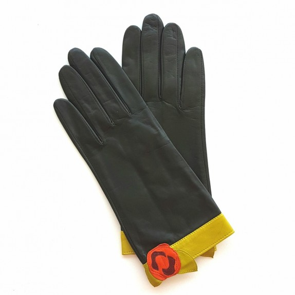 "Leather Gloves of lamb khaki, orange, anise green ""MIRABLIS""."