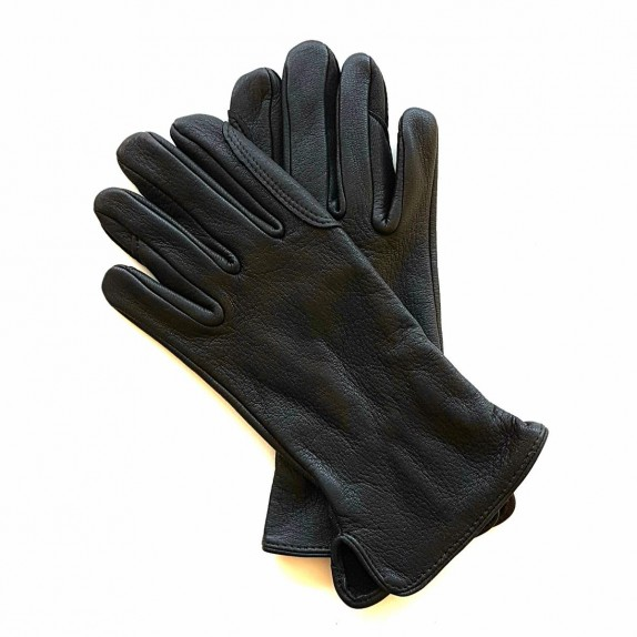 "Leather gloves of deer black ""CAVALIER""."