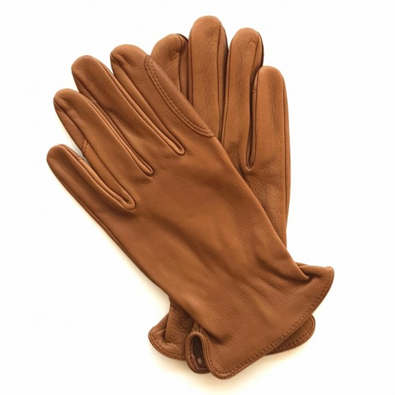 "Leather gloves of deer tobacco ""CAVALIER""."