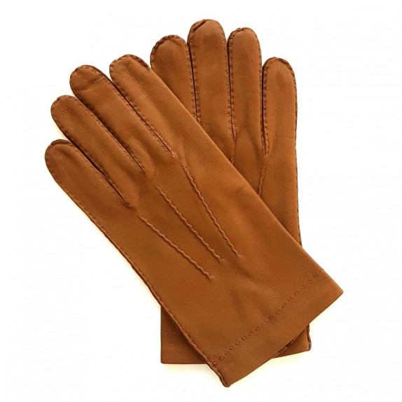 "Leather gloves of deer biscuit ""COWAL""."