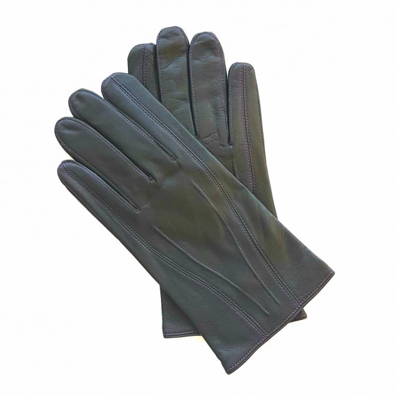 "Leather gloves of lamb charcoal and amethyst ""STEEVE""."